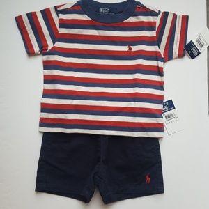 Polo Ralph Lauren Baby Boys Stripe Tee Shorts Set